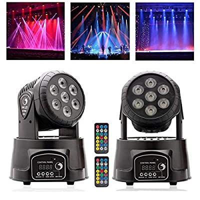 U'King Moving Head Stage Light, 7x10W RGBW LED with Auto/Remote/DMX512 Control Modes for DJ Disco Bar Party Ballroom Halloween Christmas (2Pcs with Remote Control)