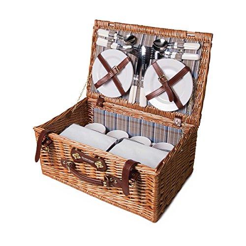 Luxus-Picknickkorb-Set für 4 Personen - Inkl. Fleecedecke mit Namen - Mit individuellem Stick