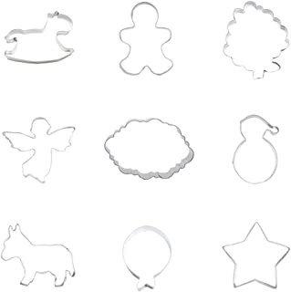9 Pieces Cookie Cutter Biscuit Five-pointed Star Balloon Donkey Burro Santa Claus Hat Plate Dragonfly Grape Boy Guy Rocking Horse