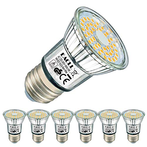 EACLL E27 LED Warmweiss 6W Leuchtmittel 2700K 595 Lumen Lampen Ersatz 75W Glühbirnen. Kein Strobe, 120 Grad Lichtwinkel Energiesparlampe Warmweiß licht Tageslichtweiß R50 Reflektorlampen, 6 Pack