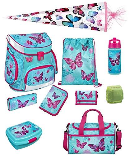 Scooli Butterfly Mädchen Schulranzen-Set 10tlg. Campus Fit mit Dose/Flasche Sporttasche und Schultüte 85cm Schmetterling und Blumen türkis