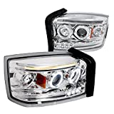 Spec-D Tuning 2LHP-DAK05-TM Dodge Dakota Chrome Clear Halo LED Projector Head Lights