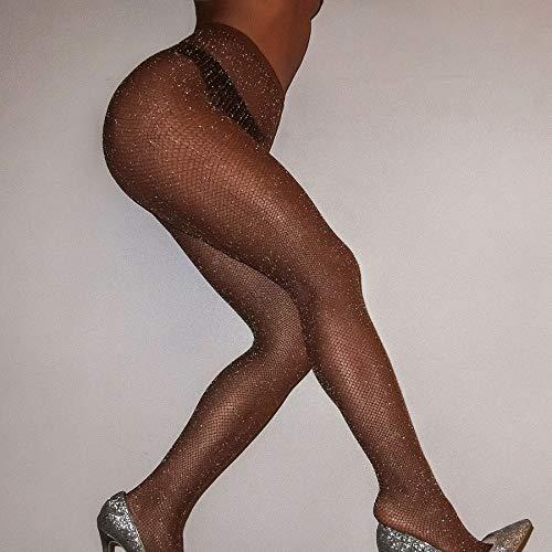 Egurs Color Caramelo Lurex Glitter Medias de Malla Sexy Medias Pantis Sin Rhinestone