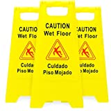 Bolthead Industrial 3-Pack of Yellow Caution Wet Floor Signs, Original Version 2-Sided Bilingual...