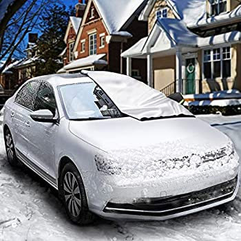Rouffiel Car Windshield Cover for Ice Snow[2020 Upgrade] Frost Guard Windshield Cover with Mirror Covers and Windproof Snow Cover for Anti-UV Frost Guard Keeps Ice & Snow Off Fit for Most Vehicle