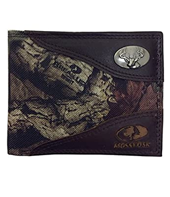 ZEPPELIN Mossy Oak Nylon with Leather Trim Passcase Camo Wallet, Buck