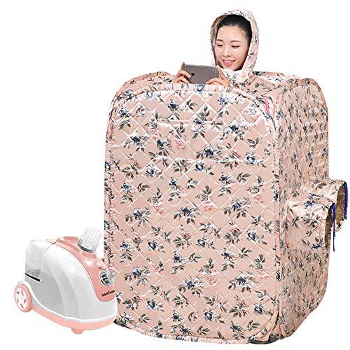 Box Sauna Portatile Disintossicante per Uso Domestico Disintossicazione Bagno Turco Una Persona Full Body Spa Modello retrò (Rosa/Giallo Chiaro)