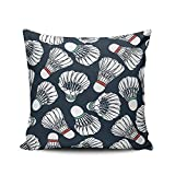 H.Slay Throw Pillow Cover Athletic Art Badminton para sofá, Dormitorio, Coche, 45 x 45 cm