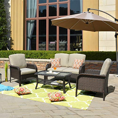 ovios Pieces Outdoor Patio Furniture Sets Rattan Chair Wicker Set with Cushions,Table,Outdoor Indoor Backyard Porch Garden Poolside Balcony Furniture (Brown-Beige)