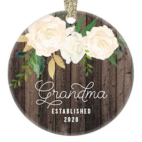 Oti34fgtephe Weihnachtsdekoration für Oma 2020 Schwangerschaft Ankündigung Baby Due 2020 Großmutter Überraschung Andenken Rustikales Geschenk Keramik Ornament