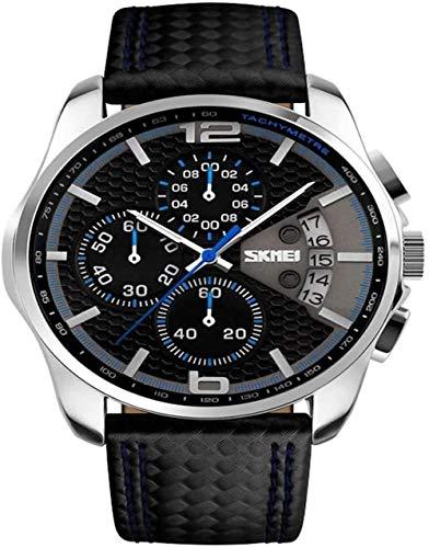 Reloj Deportivo Reloj de Cuarzo Casual Reloj de Pulsera de Cuero de Moda para Hombres Reloj de Cuarzo de Negocios a Prueba de Agua con Reloj de Alarma (Color: Azul) Fantastic