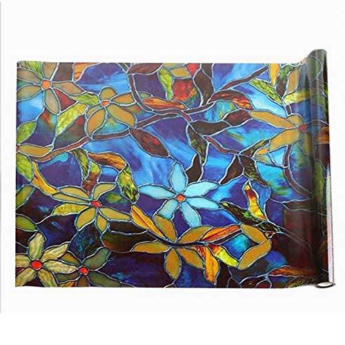 Gaetooely Etiqueta de la Ventana Estático Cling Vidrieras Película Decorativa para Ventanas Película de Flor de Camelia Orquídea Etiqueta de la Ventana de Cristal Manchada, 45X200Cm
