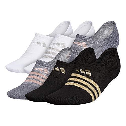 adidas Superlite Super No Show Socks (6-pair), Black/Gold/Dark Grey Heather/Rose Gold, Medium (Womens Shoe Sizes 5-10)