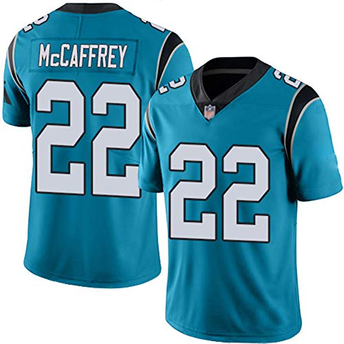 Hombres Camiseta de fútbol Americano Carolina Panthers # 22 Christian McCaffrey, Jersey de Rugby, Camisetas de fútbol Americano Boutique College Competencia Ropa Entrenamiento Traje Sudadera Jerseys