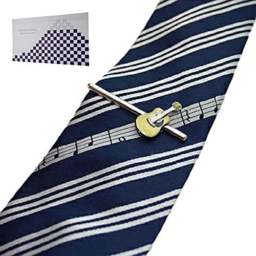 遊び心溢れるタイピン&シルクの高級ネクタイ「ギター」 & おもてな紙セット SWANK(スワンク)シルク100%