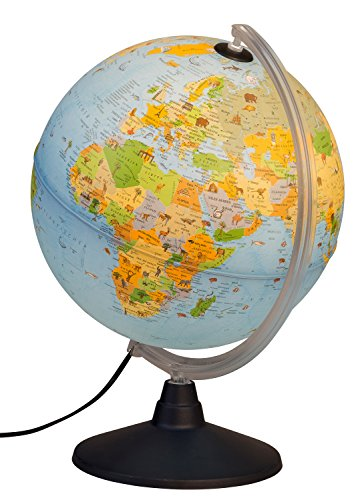 Idena 22059 Leuchtglobus mit Tierabbildungen, Lernspielzeug, Durchmesser 30 cm