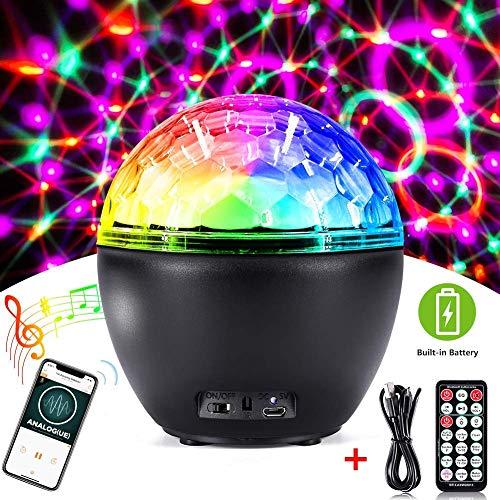 CrazyFire Discokugel LED Party Lampe,Disco Lichteffekte Sprachaktiviertes Magic Ball Bühnenlicht,16 Lichtmodus Partylicht mit Bluetooth Lautsprecher und Fernbedienung für Show Disco Ballsaal KTV Stab