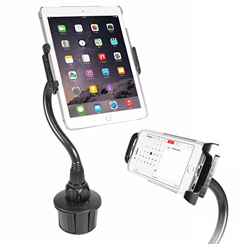 Macally 2-in-1 Tablet & Smartphone Car Cup Holder Mount with Flexible Neck for Apple Ipad Pro 10.5, Air, Mini, Samsung Galaxy Tab, iPhone Xs Max XR X 8 Plus & Any Device Up to 8