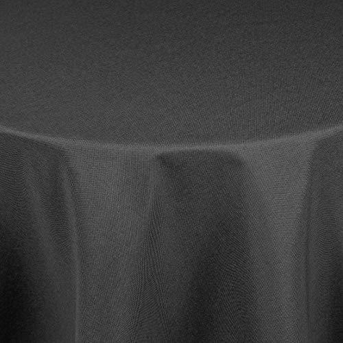 Leinen Optik Tischdecke Tischtuch Tafeldecke Leinendecke Abwaschbar Wasserabweisend Oval 135 x 180 cm Grau Anthrazit Fleckschutz Pflegeleicht mit Saumrand Leinentuch