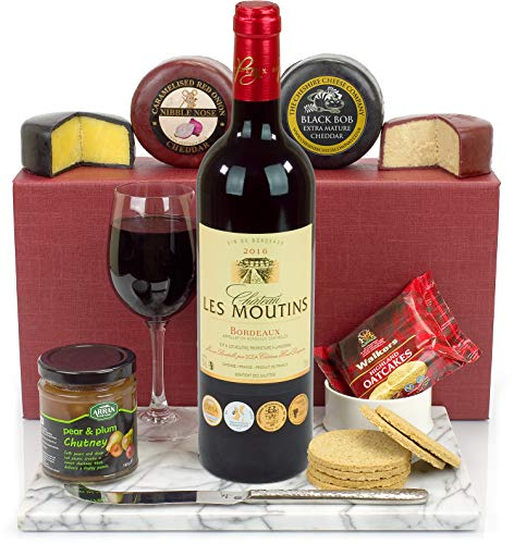 Red Wine and Cheese Hamper - Includes a hand picked bottle of award winning Les Moutins Bordeaux, a duo of Cheese Truckles, Pear and Plum Chutney and Oatcakes all presented in a Luxury Gift Box and Name-a-Rose Gift