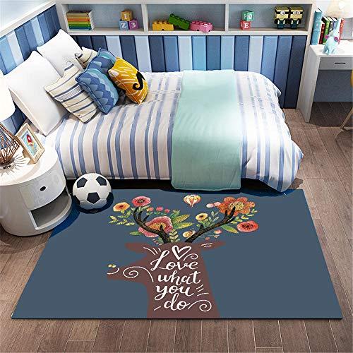 Alfombras Salon marrón Alfombra de habitación de niños alfombra de dormitorio de patrón de ciervos de dibujos animados marrón antideslizante Alfombra Impermeable Infantil Los 60X90CM Alfombra