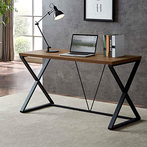 DYH Computer Desk, Rustic Wood and Metal X Writing Desk, Wood Table for Home Office, 55 inch