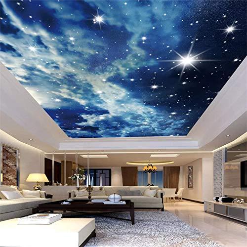 Benutzerdefinierte Fototapete Sternenhimmel Wolken Sterne Decke Tapete 3D Wohnzimmer Schlafzimmer Ktv Bar Deckenwand Tapete, 430 × 300Cm