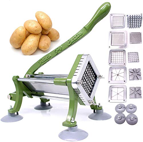 """French Fry Cutter Commercial Potato Slicer with Suction Feet Complete Set, Includes 1/4"""", 3/8"""",1/2"""",8 Pieces,6 Pieces"""
