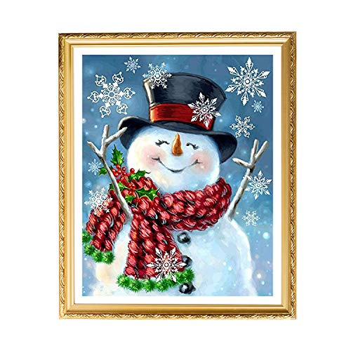 UPINS Christmas Snowman 5D Diamond Art Painting Kit for Adult on Holiday(10 X14 Inches)