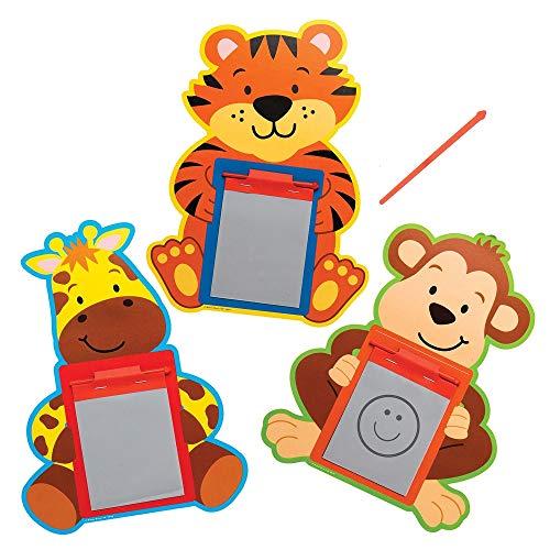 Baker Ross Pizarras Mágicas Amigos de la Jungla AT975 (paquete de 12) para bolsos de fiesta para niños y pequeños juguetes, surtidos