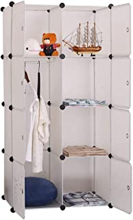 DIY 8 Cube Clothes Cabinet Rack Storage Portable Wardrobe (White)