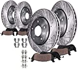 Detroit Axle - Front Rear Drilled & Slotted Brake Rotors Ceramic Pads w/Hardware for 2010 2011 2012 2013 2014 2015 Chevrolet Camaro V6 LS & LT
