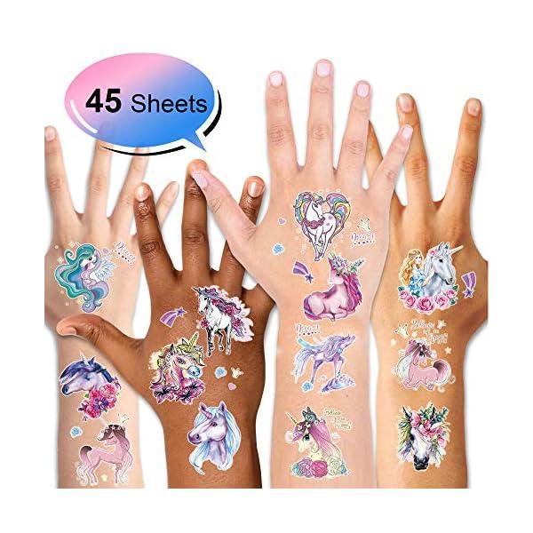 Unicorn Temporary Tattoos for Children Kids Girls(45Sheets),Konsait Great Girls Fake Stickers Waterproof Rainbow Unicorn… 4