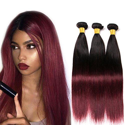 Volvetwig Ombre Hair Bundles 300g Burgundy Echthaar Tressen Extension Virgin Hair Weave Lange HaarFarbe Schwarz bis Winerot Brasilianisches Billig 16 18 20 zoll