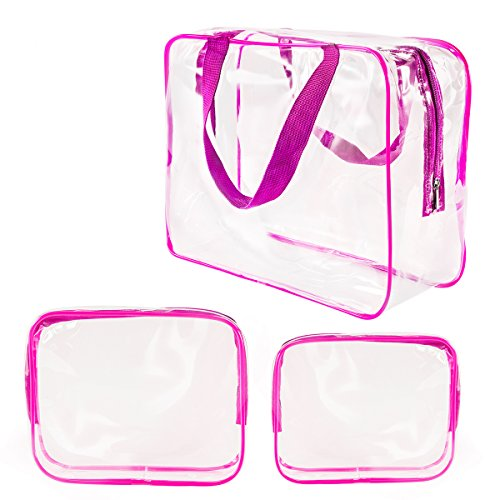 3Pcs Clear Cosmetic Bag Air Travel Plastic Toiletry Pouch, Water Resistant Packing Cubes with Zipper Closure and Carrying Handle for Women Baby Men, Make-up Brush Case Beach Pool Spa Gym Bags Hot Pink