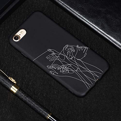 Banaz - Carcasa para iPhone 8 y 7, diseño de cinco manos pintadas de TPU suave