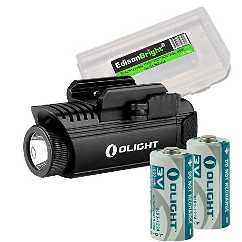 EdisonBright Bundle: Olight PL1 II Valkyrie 450 Lumen LED Weapon Mounted Light with 2 X Olight CR123 Lithium Batteries Battery Carry case