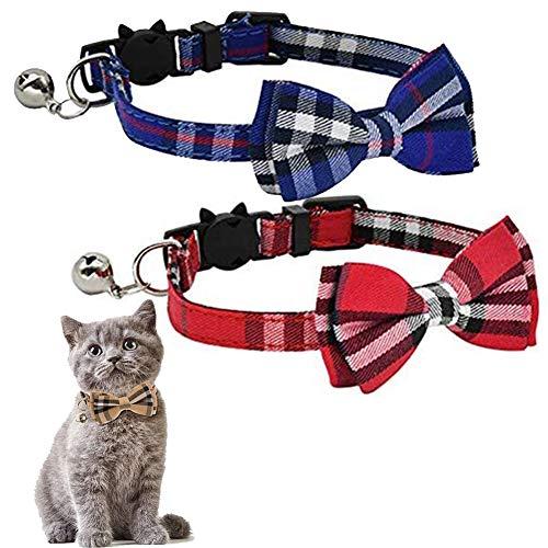 Kingkindshun Katzenhalsband, mit Sicherheitsverschluss und Glöckchen, Katzenhalsbänder mit Schleife Krawatte für Kleine Hunde und Katzen, 2 Pack(Blau + Rot)