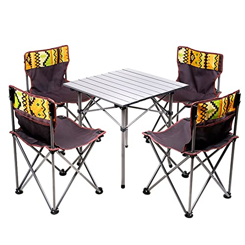 Juego de mesa y sillas de camping plegable, portátil, 4 sillas, 1 mesa, mesa de jardín ultraligera y sillas con bolsa de transporte, para autoconducción, picnic, playa, Fis