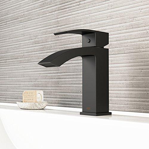 VIGO VG01015MB Satro Modern Bathroom Faucet, Single-Hole Deck-Mount Lavatory Faucet with Plated Seven Layer Matte Black Finish