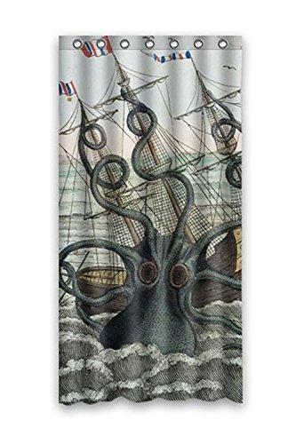 Custom Duschvorhang Sea Monster Kraken Oktopus Wasserdicht Duschvorhang aus Stoff, 36