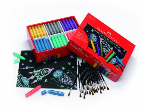 Faber-Castell Metallic Gel Stick School Pack – Multi-purpose Crayons – 120 Count – 6 Vibrant Colors