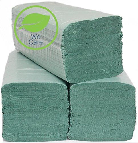 Papierhandtücher Handtuchpapier grün 1-lagig 25x23 cm, Zickzackfalz Handtücher 5000 Stück