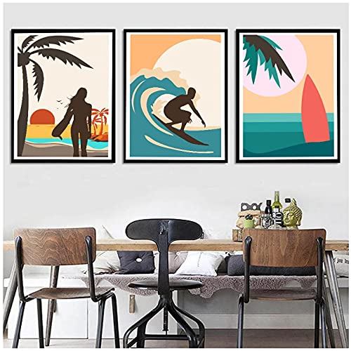 ZNNHEROTabla De Surf De Playa para Hombres Y Mujeres, Póster De Surf En La Playa, Arte De Pared, Pintura En Lienzo, Imagen para Sala De Estar, Dormitorio, Decoración-40X60Cmx3 Sin Marco