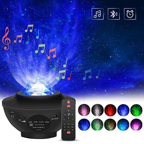 Proyector Giratorio de Luz Estelar, FOCHEA 21 Modos Proyector LED de Luz Nocturna con Altavoz Bluetooth y Temporizador para Bebés Dormitorio de Niños (Negro)