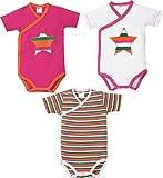 Erwin Müller Baby-Wickelbody 3er-Pack Interlock-Jersey pink/weiß Größe 50 / 56