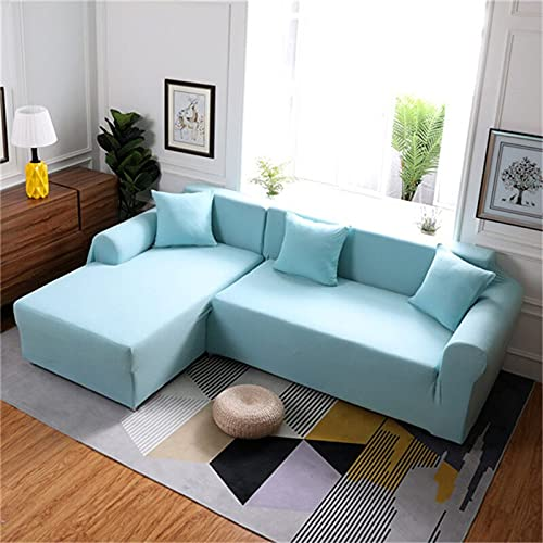 WXQY Funda Protectora de sofá de Esquina en Forma de L de Color sólido para Sala de Estar Funda de sofá elástica Funda Protectora de sofá Antideslizante A26 3 plazas