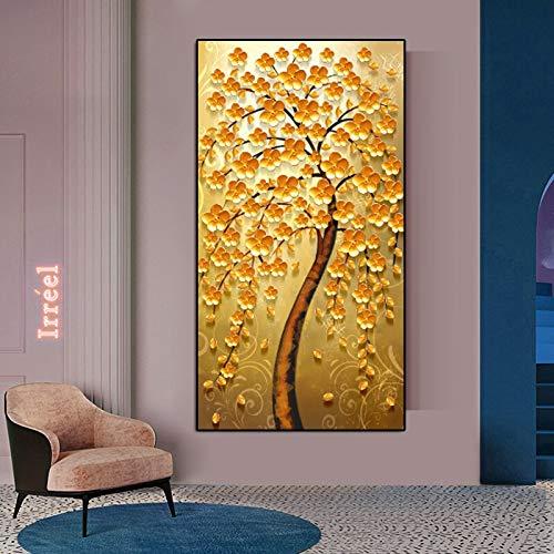Pintura al óleo moderna sobre lienzo en 3D, amarillo dorado, árbol rico, hojas, flor, planta, arte de pared, carteles e impresiones, sala de estar, dormitorio, oficina, hotel, estudio, decoración