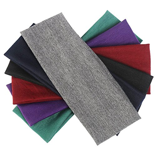 6 Pieces Yoga Cotton Headbands Elastic Head Bands for Teans and Women Assorted Colours