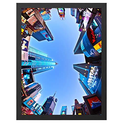 ONE WALL Posterrahmen 46 x 61 cm, A2 Aluminium Bilderrahmen Fotorahmen für Poster Bilder, Schwarz